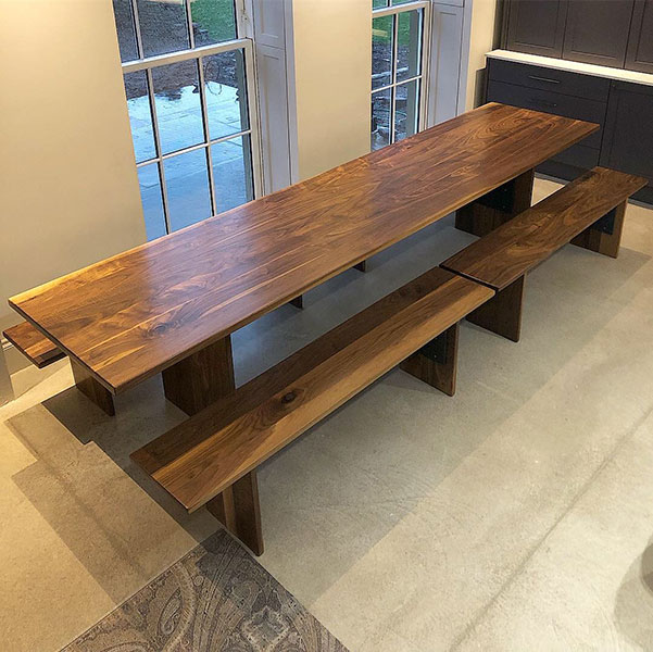 Walnut Table and Benches